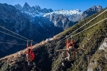 Challenging! Dare to try the highest zip line in Yunnan?