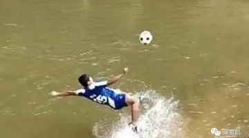 Kicking hard in water, Blang boy dreams to enter national football team
